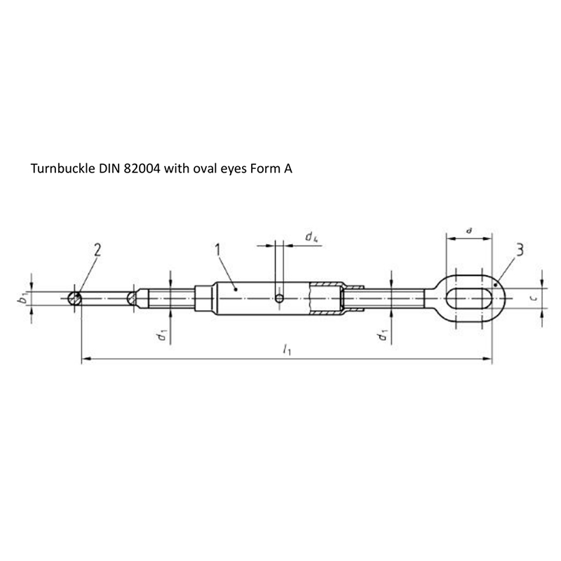 Turnbuckle DIN 82004 with oval eyes Form A