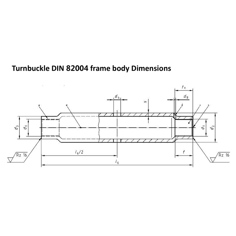 Turnbuckle DIN 82004 frame body Dimensions